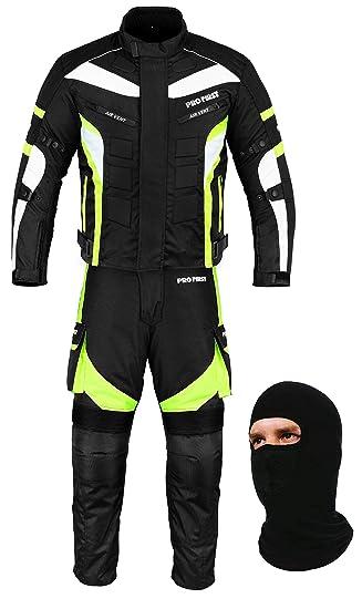Cordura Fabric 6 Packs Design Most Popular FREE BALACLAVA Large Waterproof Motorbike Gears Motorcycle 2 Suit Jacket /& Trouser Black /& Green CE Armour