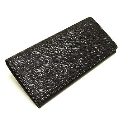 43aec010b7c9 Amazon | [古都印伝] 日本製 本革 長財布 薄型 亀甲 ユニセックス 印伝 漆 和柄 (ブラック) [ウェア&シューズ] | 財布