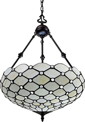 Amora Lighting Tiffany Style Hanging Lamp Jeweled Chandelier 18″ Wide Stained Glass White Antique Vintage Light Decor Restaurant Game Living Dining Room Kitchen Gift AM1117HL18B