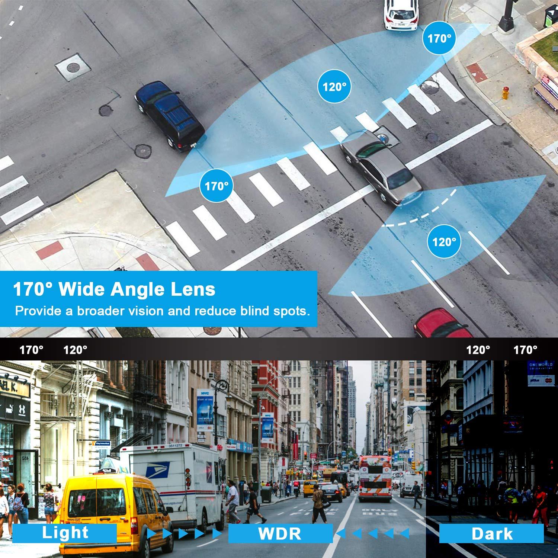 Schermo IPS da 4Doppio obiettivo grandangolare Monitoraggio parcheggio Registrazione ciclica WDR 【2019 Nuova Versione】Dash Cam Telecamera per Auto Dual Telecamera Dashboard 1080P G-Sensor