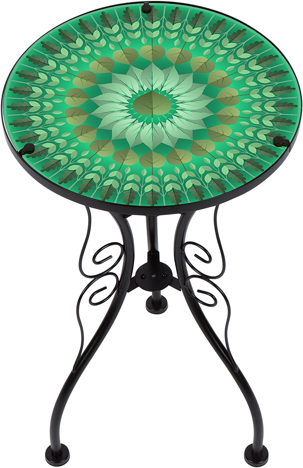 22 Peacock Design Glass /& Metal Side Table by Trademark Innovations