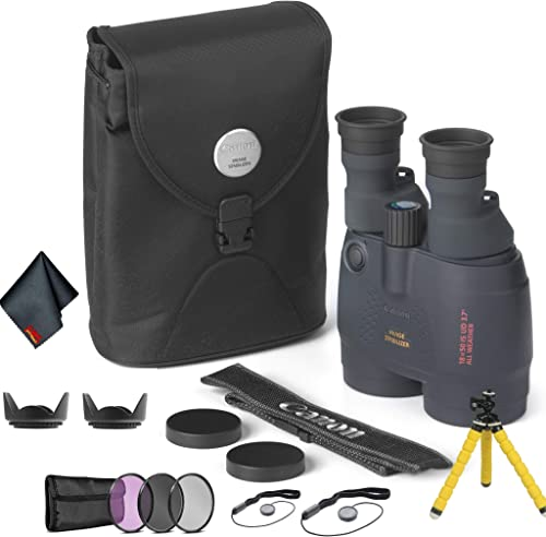 Canon 18×50 Image Stabilization All-Weather Binoculars – Bundle with Tulip Lens Hoods, Tripod More