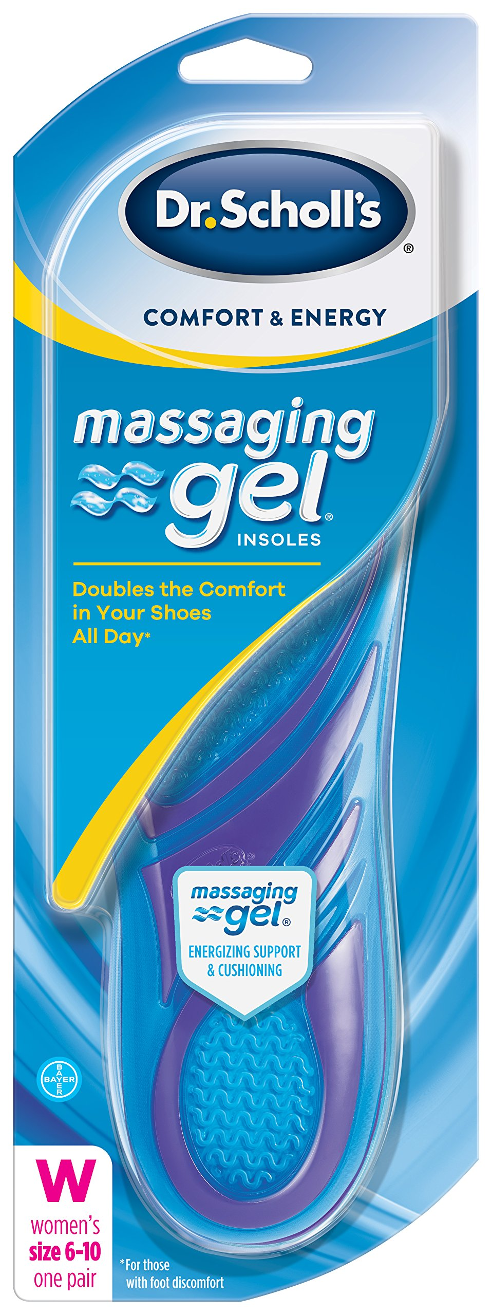 Dr. Scholl's Comfort and Energy Massaging Gel Insoles for Women, 1 Pair, Size 6-10