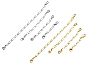 Set of 8 Stainless Steel Chain Extender for Necklace Bracelet Jewelry Extenders