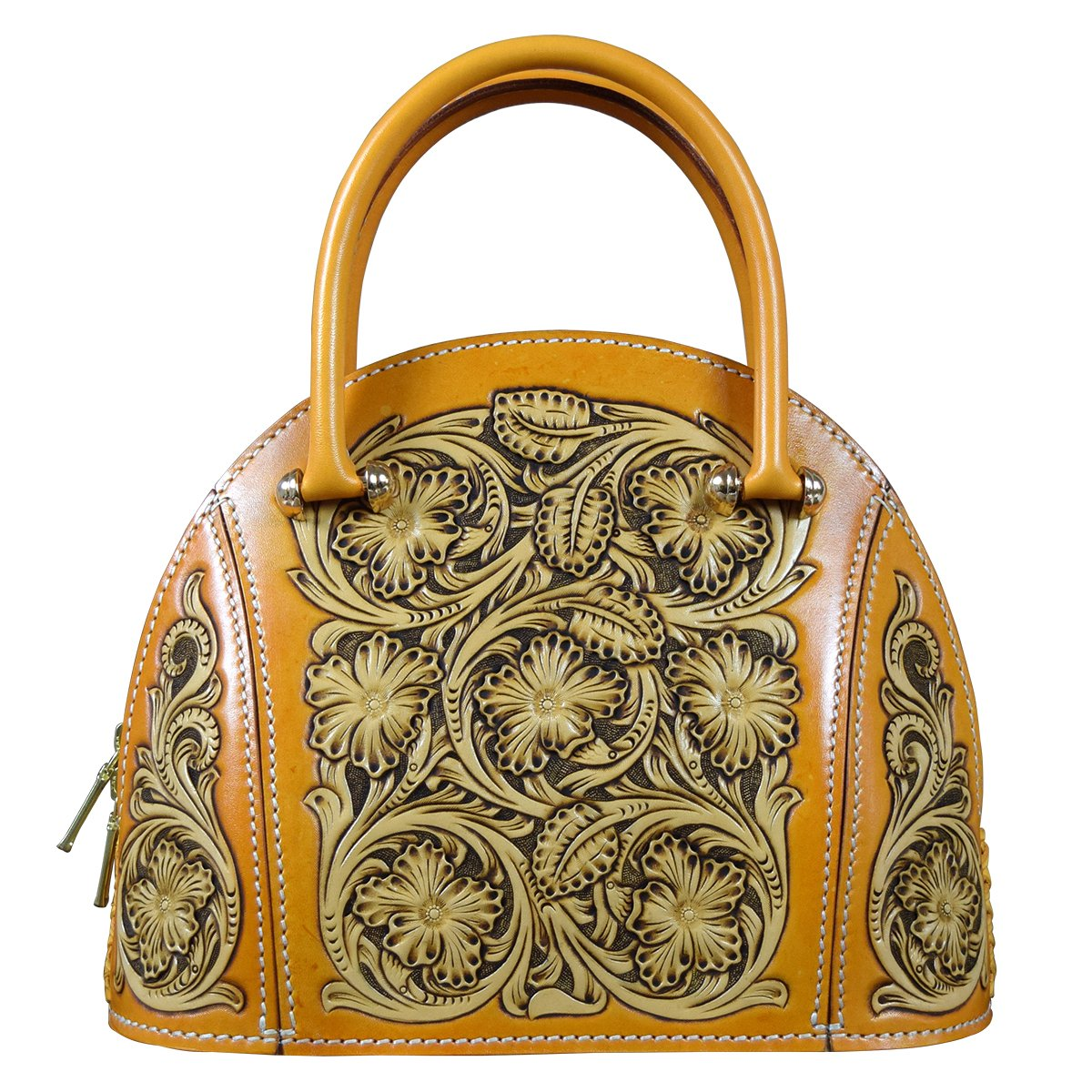 OLG.YAT Vegetable Tanned Leather Lady Handbags Retro Little Bow Leisure Purse HKBH