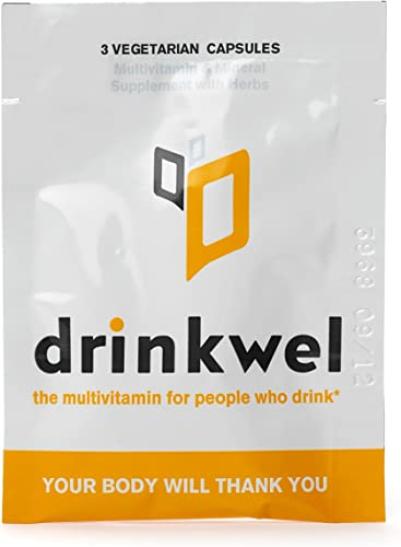 Drinkwel Hangover Supplement to-Go Packets – 4 Servings x 3 Capsules – Morning Recovery Liver Cleanse, Detox, and Immune Support Multivitamin Supplement – Milk Thistle, N-Acetyl Cysteine NAC