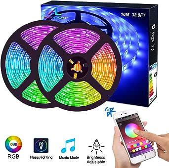Tiras de LED Bluetooth, ALED LIGHT 5050 RGB 2x5 metros Luces de ...