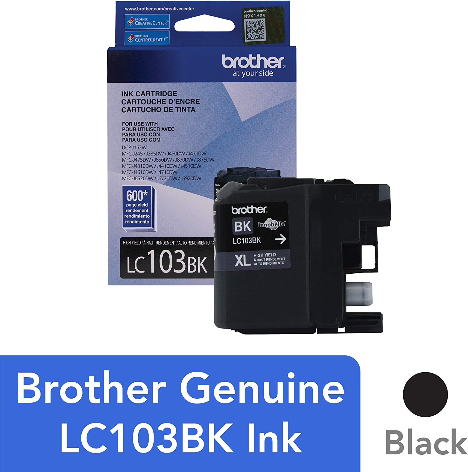 Brother Genuine High Yield Black Ink Cartridge, LC103BK, Replacement Black Ink, Page Yield Up To 600 Pages, Amazon Dash Replenishment Cartridge, LC103, 1 OEM Cartridge