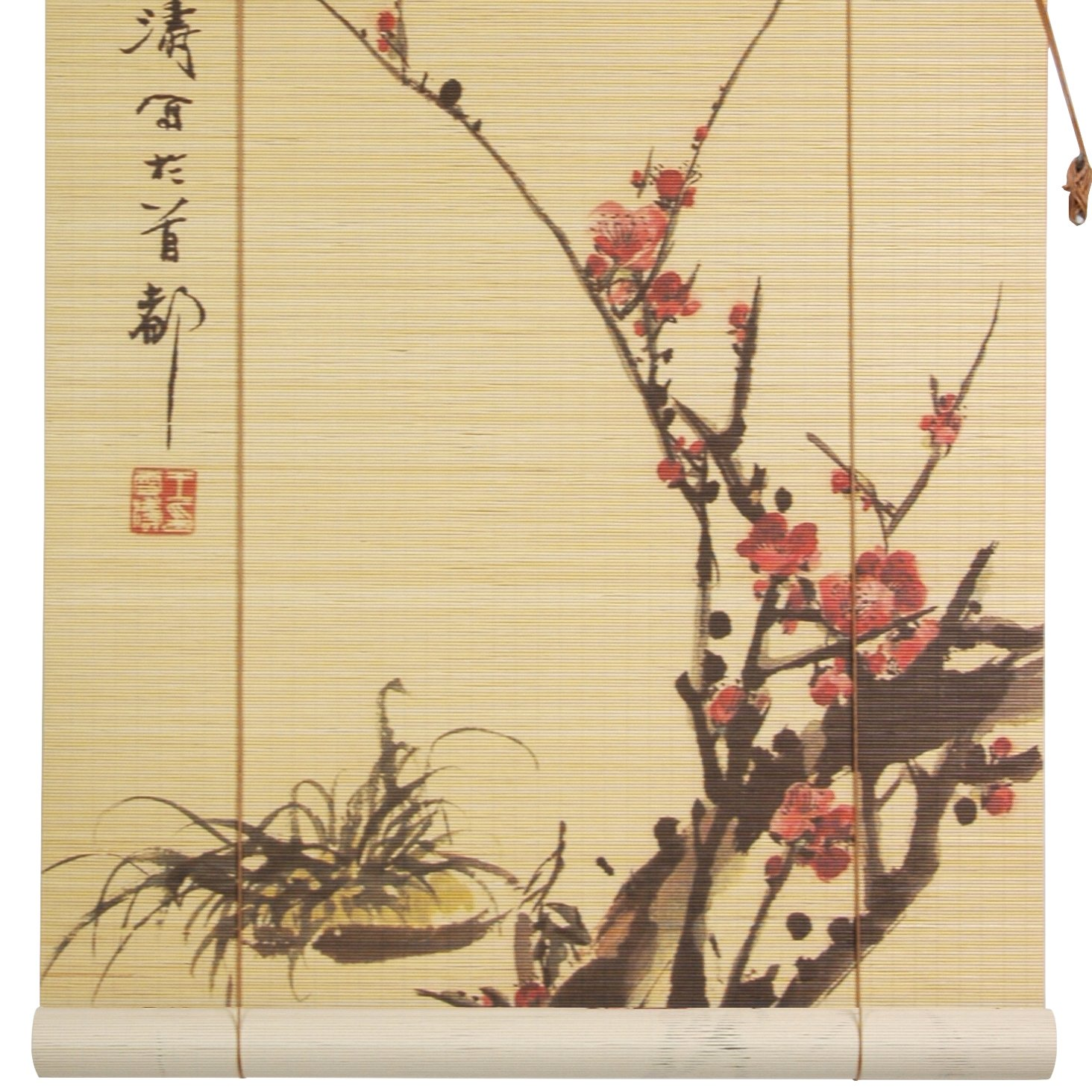 Oriental Furniture Sakura Blossom Bamboo Window Blinds, 36-Inch Wide WTPF09-02-36
