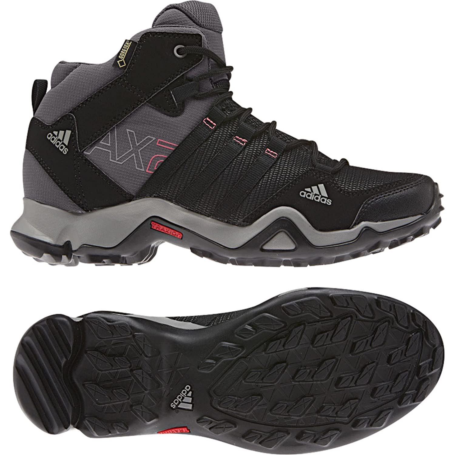 buy online ae0a5 ae790 Amazon.com  adidas Outdoor AX 2 Mid GTX Hiking Boot - Women s  Carbon Black Bahia Pink 11  Sports   Outdoors