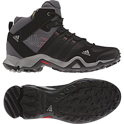 af2f04959aa Amazon.com  adidas Outdoor AX 2 Mid GTX Hiking Boot - Women s  Carbon Black Bahia Pink 11  Sports   Outdoors