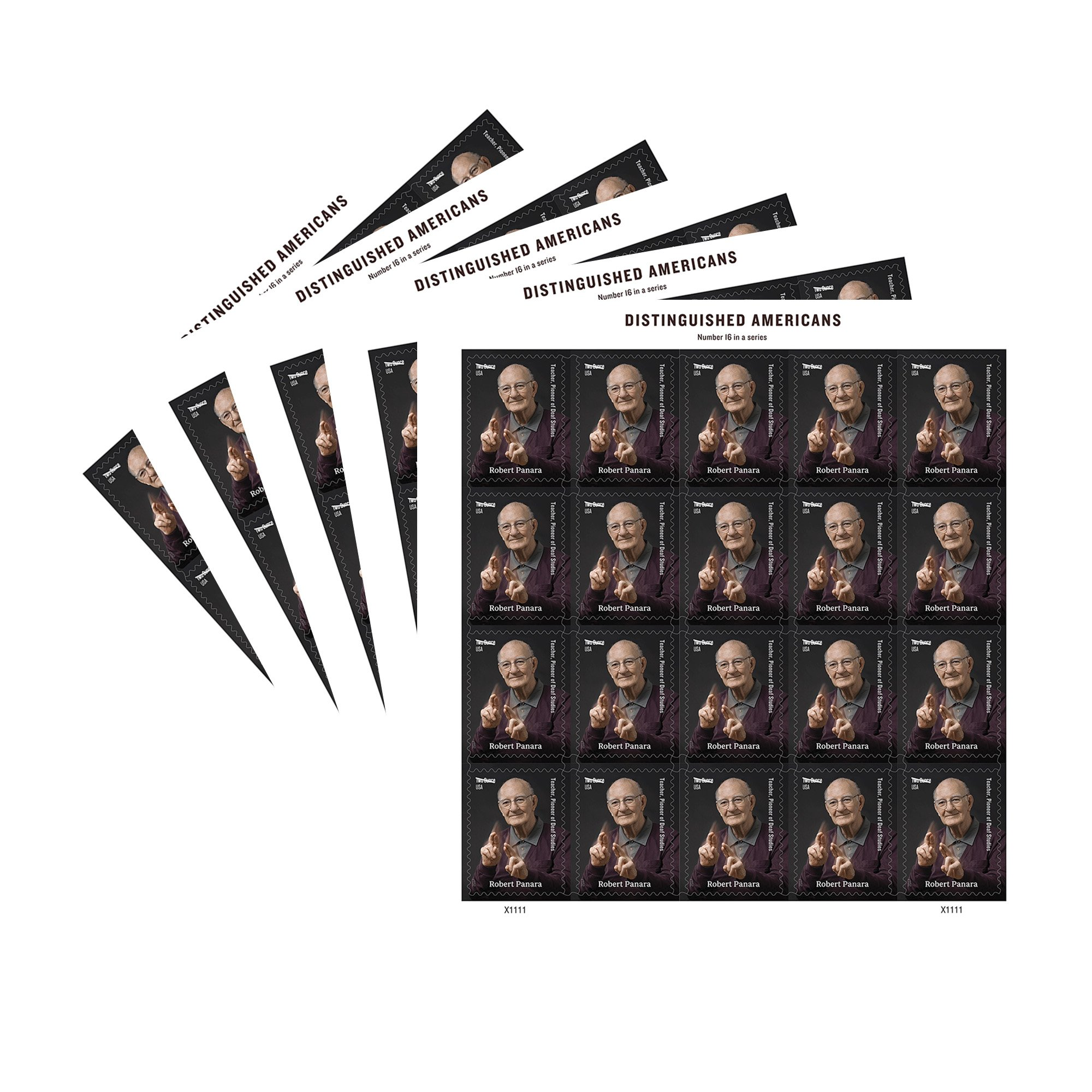 Robert Panara 5 Sheets of 20 Forever USPS First Class Two Ounce Postage Stamps Teacher Deaf Studies