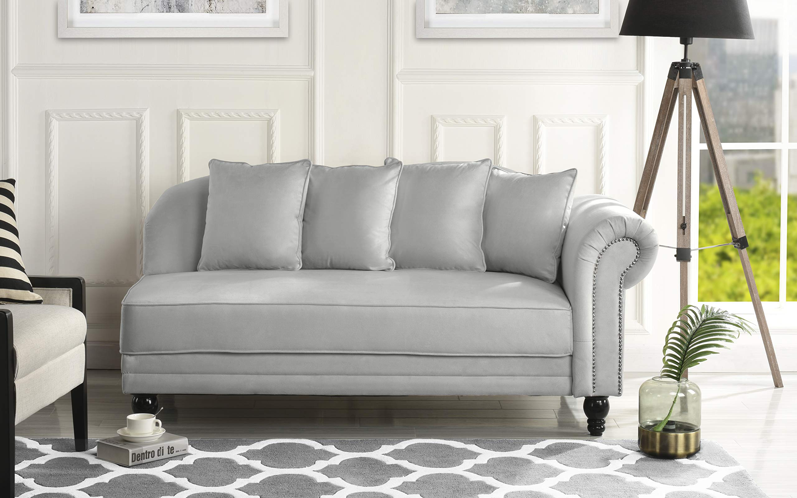 Sofamania Large Classic Velvet Fabric Living Room Chaise Lounge with Nailhead Trim (Light Grey) by Sofamania