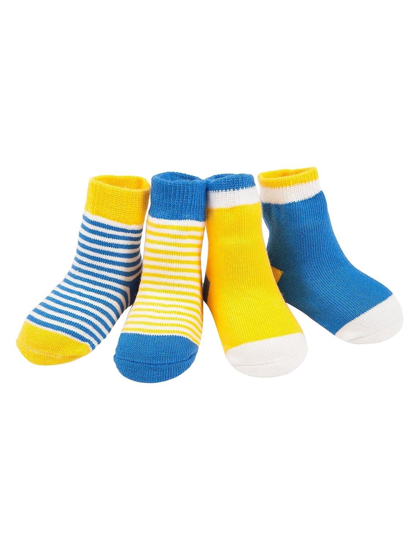Camilife 4 Paar Neugeborenes Baby Kleinkind Jungen Mädchen Baumwolle Socken Hochelastisch Frühling Herbst Süß und Lieblich