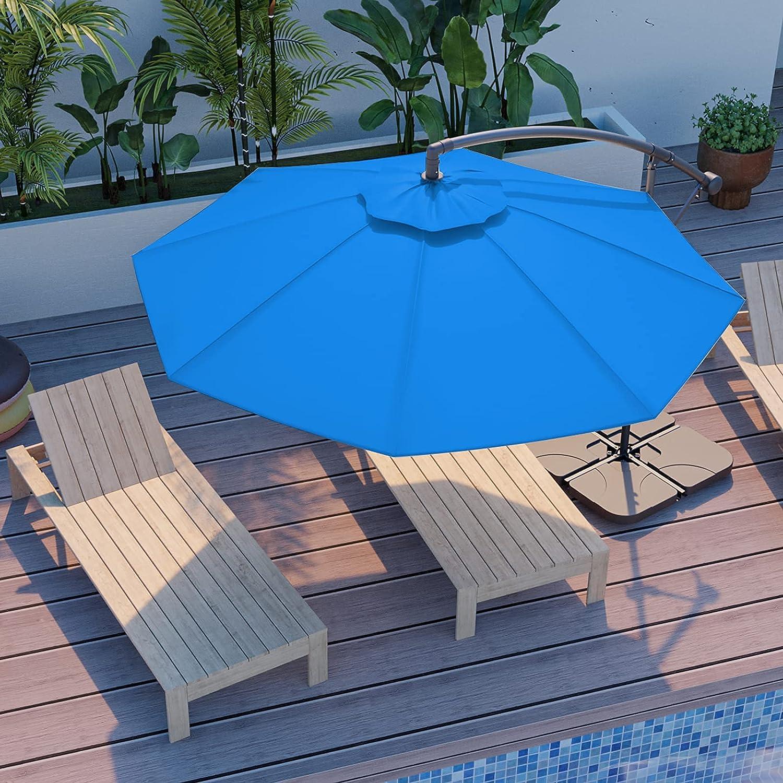 JEAREY 10ft Outdoor Umbrella Backyard Offset Patio Umbrella Cantilever Umbrella Hanging Market Garden Umbrellas with Infinite Tilt, Crank & Cross Base