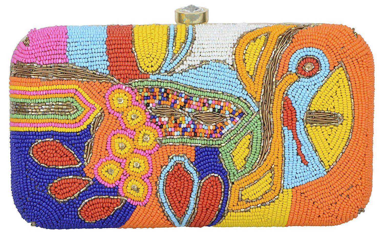 Parizaat by Shadab Khan Women's Clutch Purses for Women Evening Bags (Multicolor, bxmul7439)
