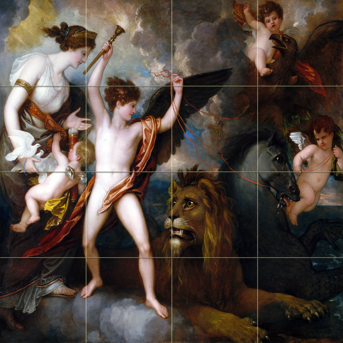Baroque angels cupids lion horse by Benjamin West PRA Tile Mural Kitchen Bathroom Wall Backsplash Behind Stove Range Sink Splashback 4x4 6'' Rialto