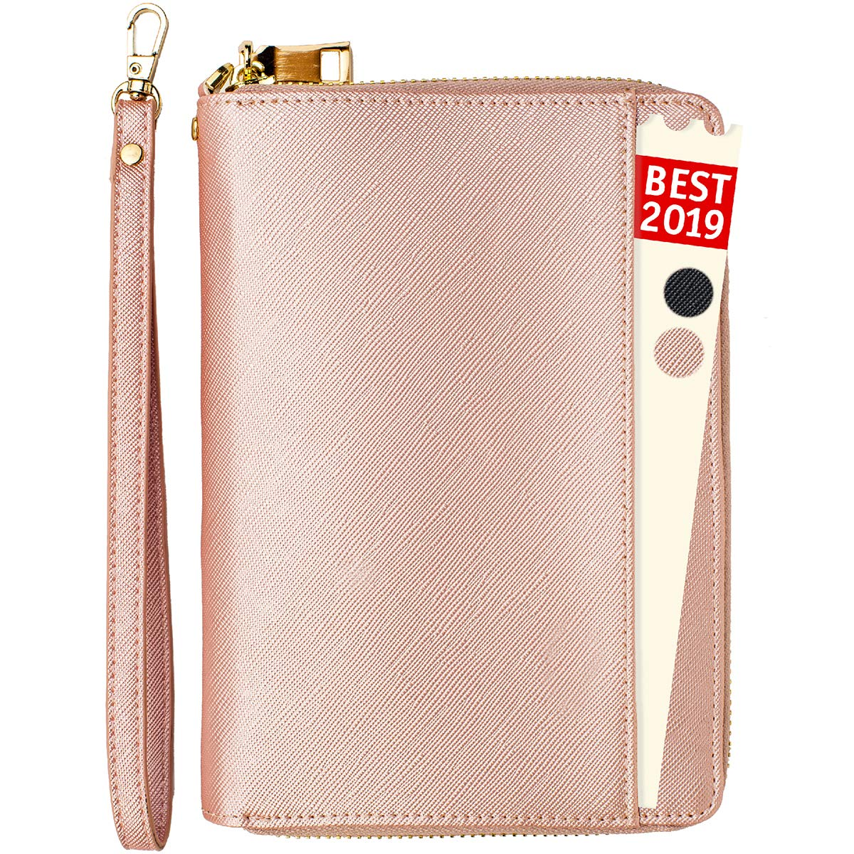 Travel Document Organizer - RFID Passport Wallet Case Family Travel Wallet Holder Id Wristlet (Rose Gold) by Apadi