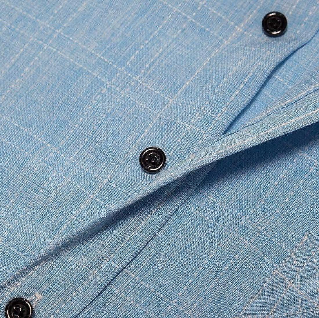 Vska Men Long-Sleeve with Plus Size Button Down Pockets Cotton Western Shirt