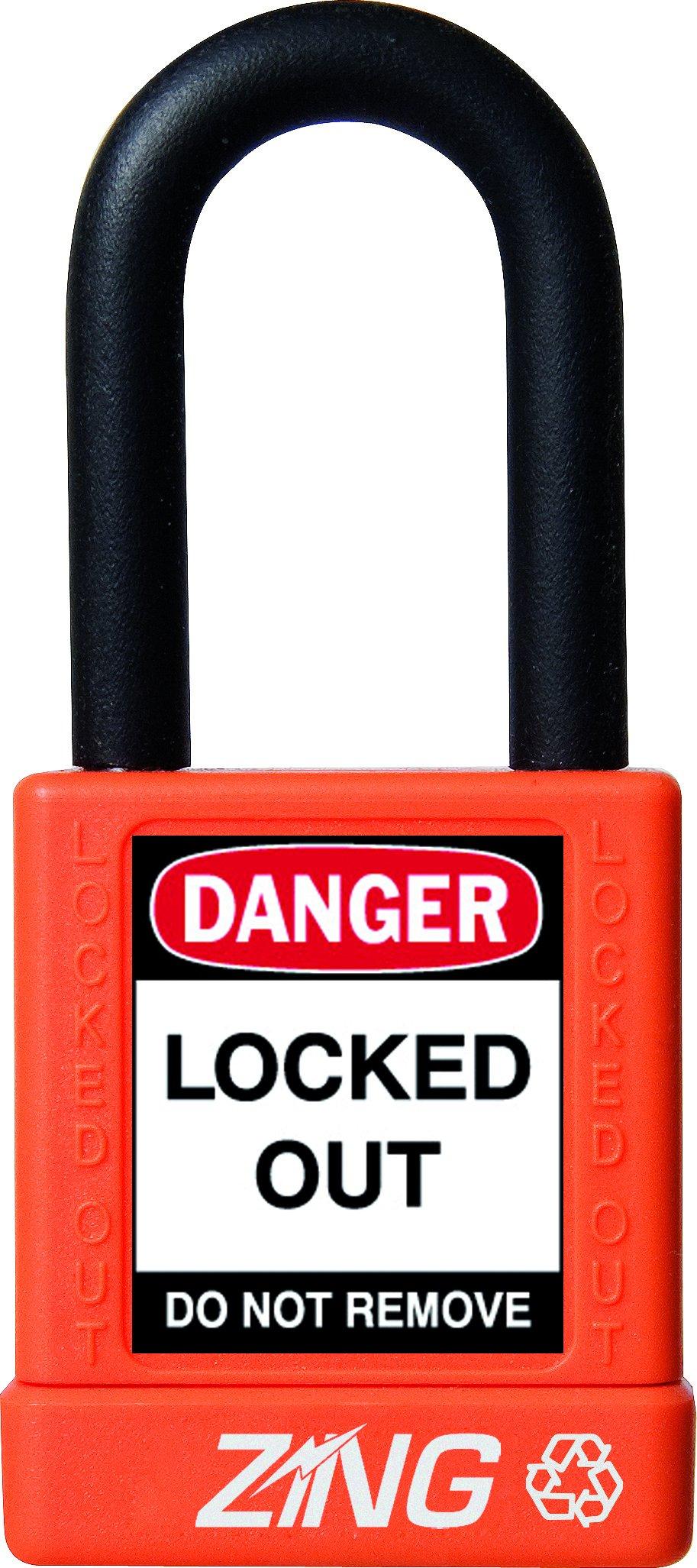 ZING 7043 RecycLock Safety Padlock, Keyed Alike, 1-1/2'' Shackle, 1-3/4'' Body, Orange