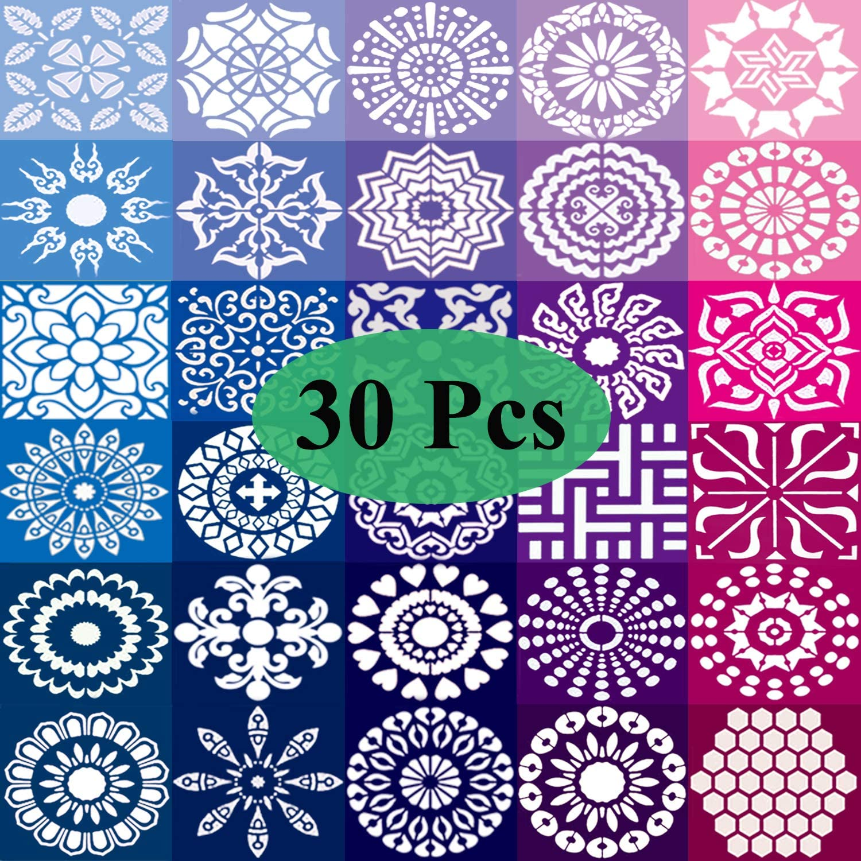 Winfoo 30PCS Mandala Stencil Set, 3.6 x 3.6 In Mandala Stencils for Dot Painting, Stencils for Painting on Wood Reusable, Stencils for Kids, Painting Stencils for DIY Rock Painting Art Projects, White