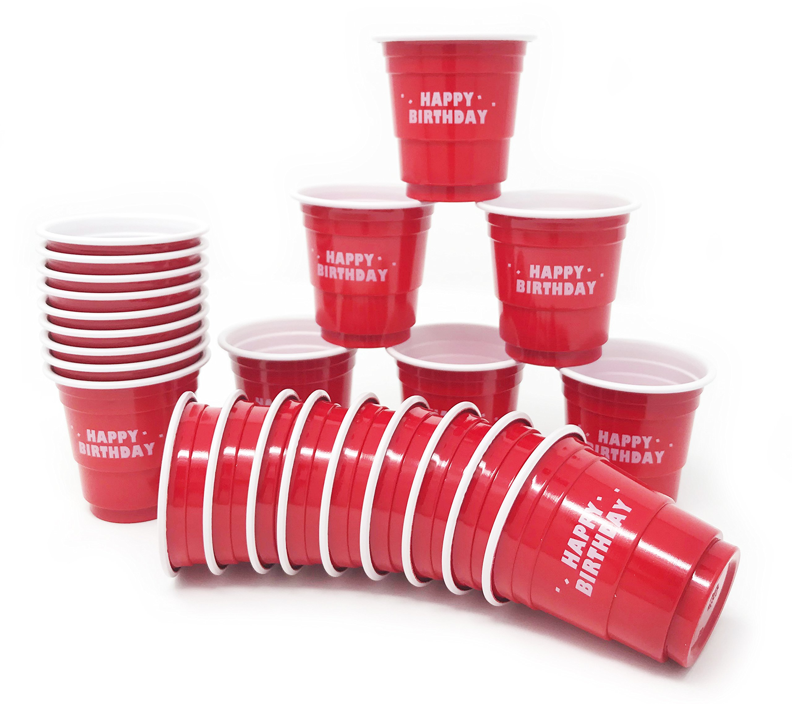 24ct Mini Red Happy Birthday Cups 2oz Plastic Disposable Shot Glasses Party Shooter Beer Pong Jello, Red by Express Novelties Online