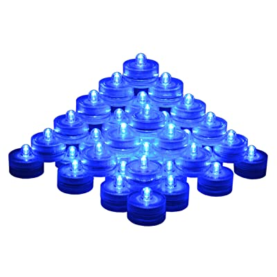 SAMYO Set of 36 Waterproof Wedding Submersible Battery LED Tea Lights Underwater Sub Lights- Wedding Centerpieces Party Decorate (Blue): Home & Kitchen