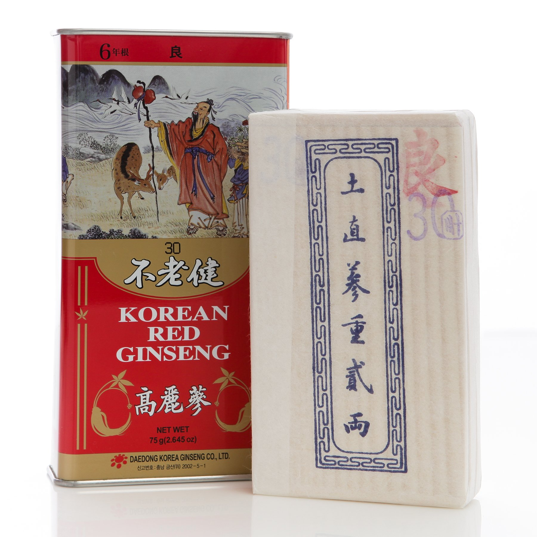Korean 6 Years Red Ginseng First Grade 5 Roots 75g (2.6oz), Saponin, Panax