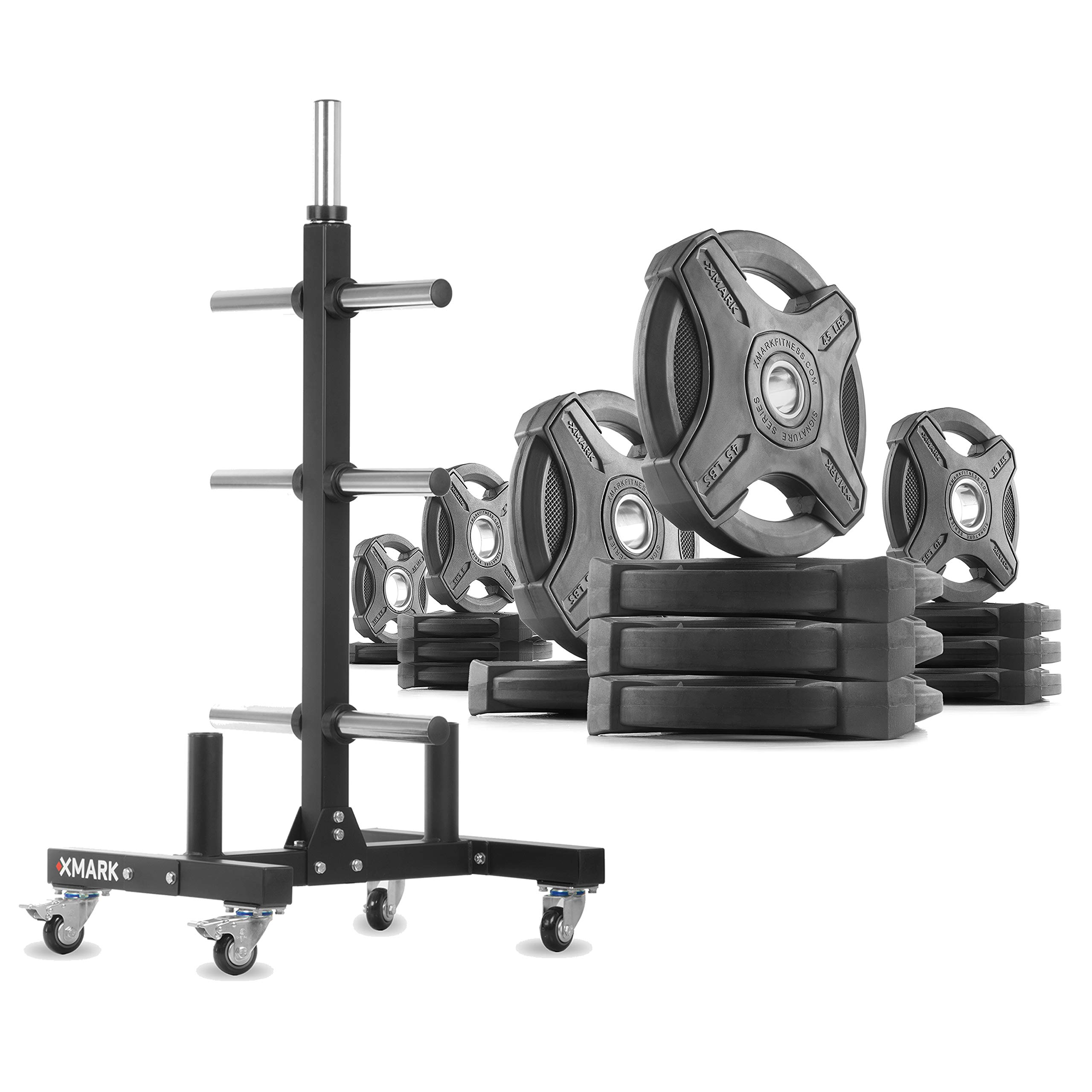 XMark XM-9055 Commerical Olympic Weight Tree Plus a 295 lb Set of Signature Olympic Plates by XMark