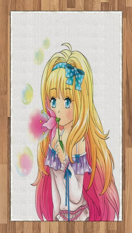 Anime Area Rug By Ambesonne Cute Manga Girl Blowing Bubbles From A Flower Japanese Cartoon