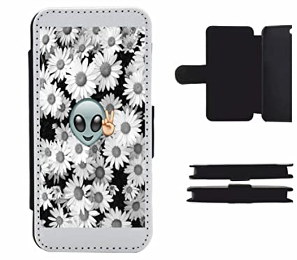 Alien Peace Sign with Flowers and Peace Retro Flip Case for