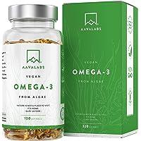 Omega 3 Vegano AAVALABS [ 1100 mg ] - de Aceite de Algas de Origen Vegetal Sostenible 600 mg DHA + 300 mg EPA por Dosis…
