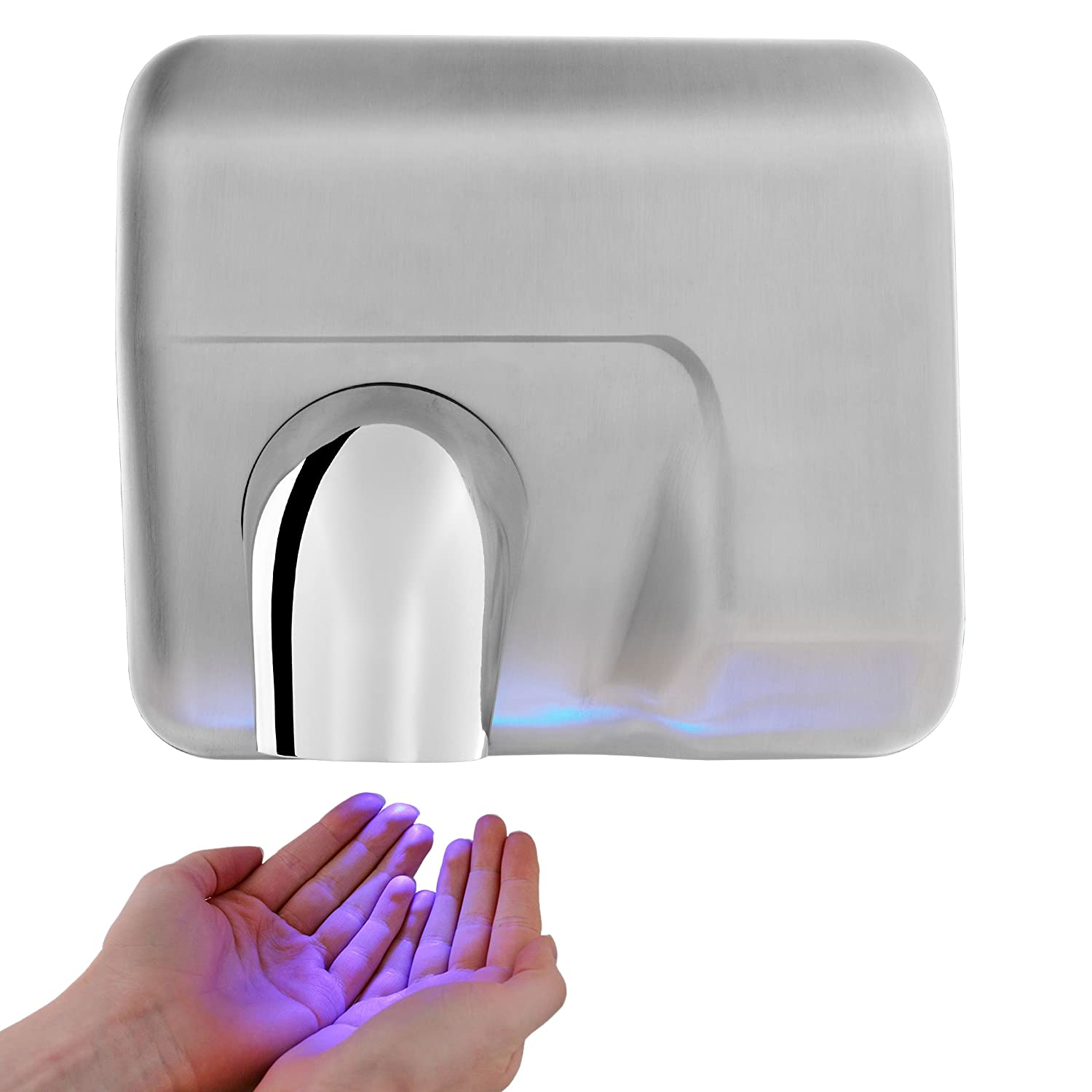 Nozzle Hand Dryer - Electric Automatic Rotating Drier - Brushed Stainless Steel Washroom Hub
