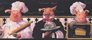 Concord Wallcoverings Restaurant Wallpaper Border Featuring French Chef and Waiter Pigs, Colors Pink White Black and Red, Size 11 Inches by 15 Feet KH5802B