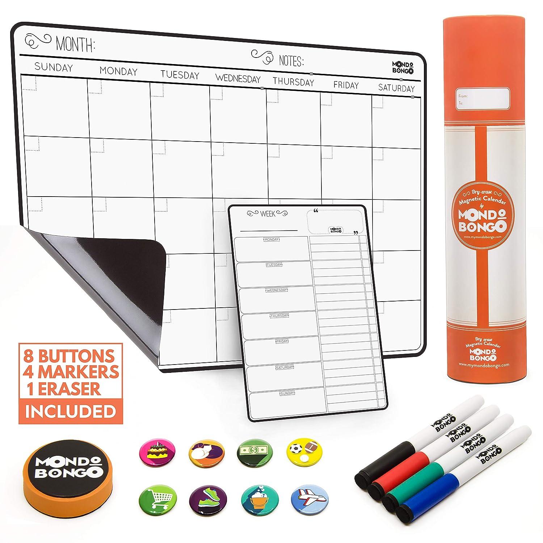 "Magnetic Calendar for Refrigerator Weekly & Monthly schedule Fridge Whiteboard - Magnet Dry Erase Calendar Board (17""x12"")   BONUS: To Do List Refrigerator Organizer, 4 Markers, Eraser, 8 Icons"