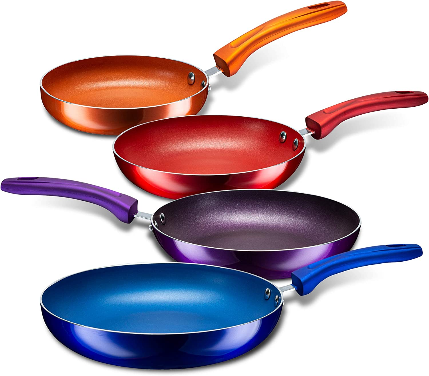 Amazon Com Chef S Star Aluminum Nonstick Pans Set For Sauteing And Frying Nonstick Skillet With Stay Cool Handle Frying Pans Set Of 4 Multi Color Kitchen Dining