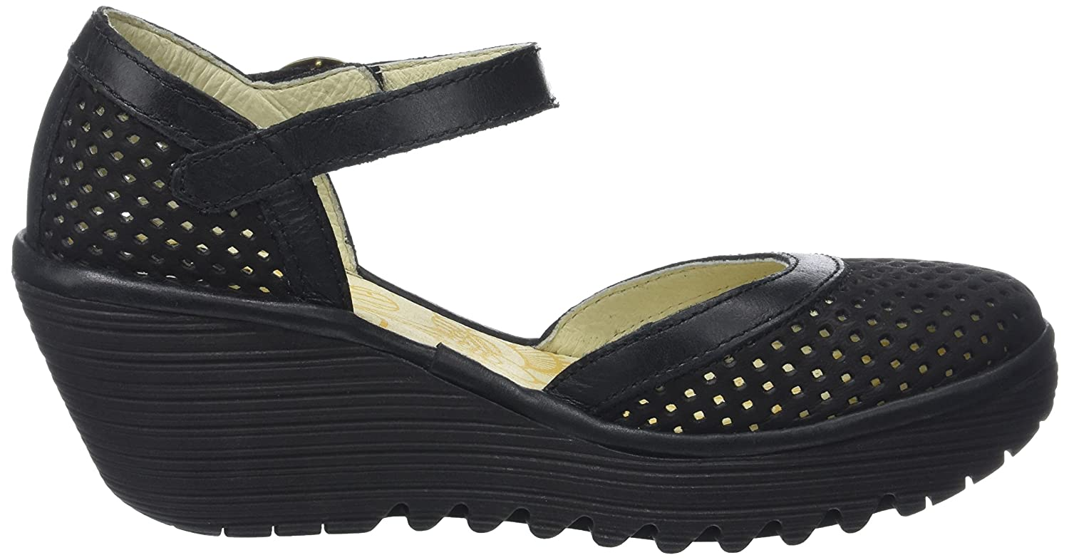 Womens Fly London Yupi Wedge Heel Leather Cut Out Buckle Summer Shoes