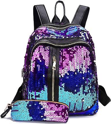 Girls Glitter Large Travel School Backpack Ladies Rucksack Bag Shoulder Satchel