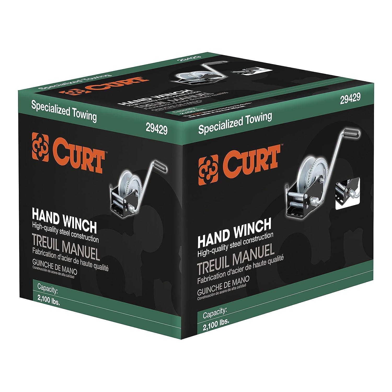 Capacity CURT 29429 Manual Hand Crank Boat Trailer Winch 2,100 lbs