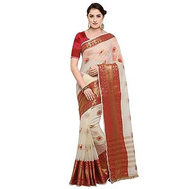 37b12266a9ff24 Pisara Women Banarasi Cotton Silk Saree With Blouse Piece,Off-white ...