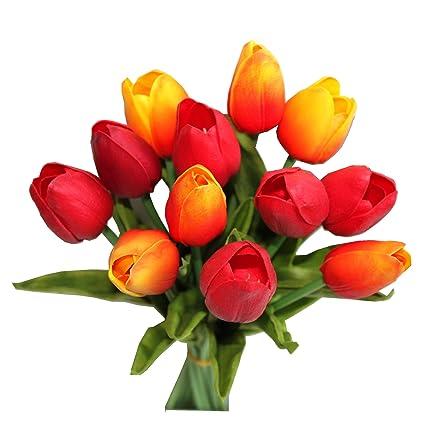 Amazon Mandys 12pcs Orange And Red Artificial Tulip Flowers 14