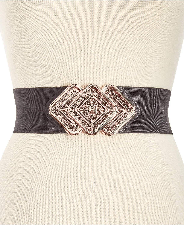 INC International Concepts I.N.C Trio Interlock Stretch Belt in Black//Rose