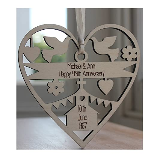 ALPHABET BARN Anniversary Wedding Gift Personalised Engraved Wood Decoration Made In The UK By