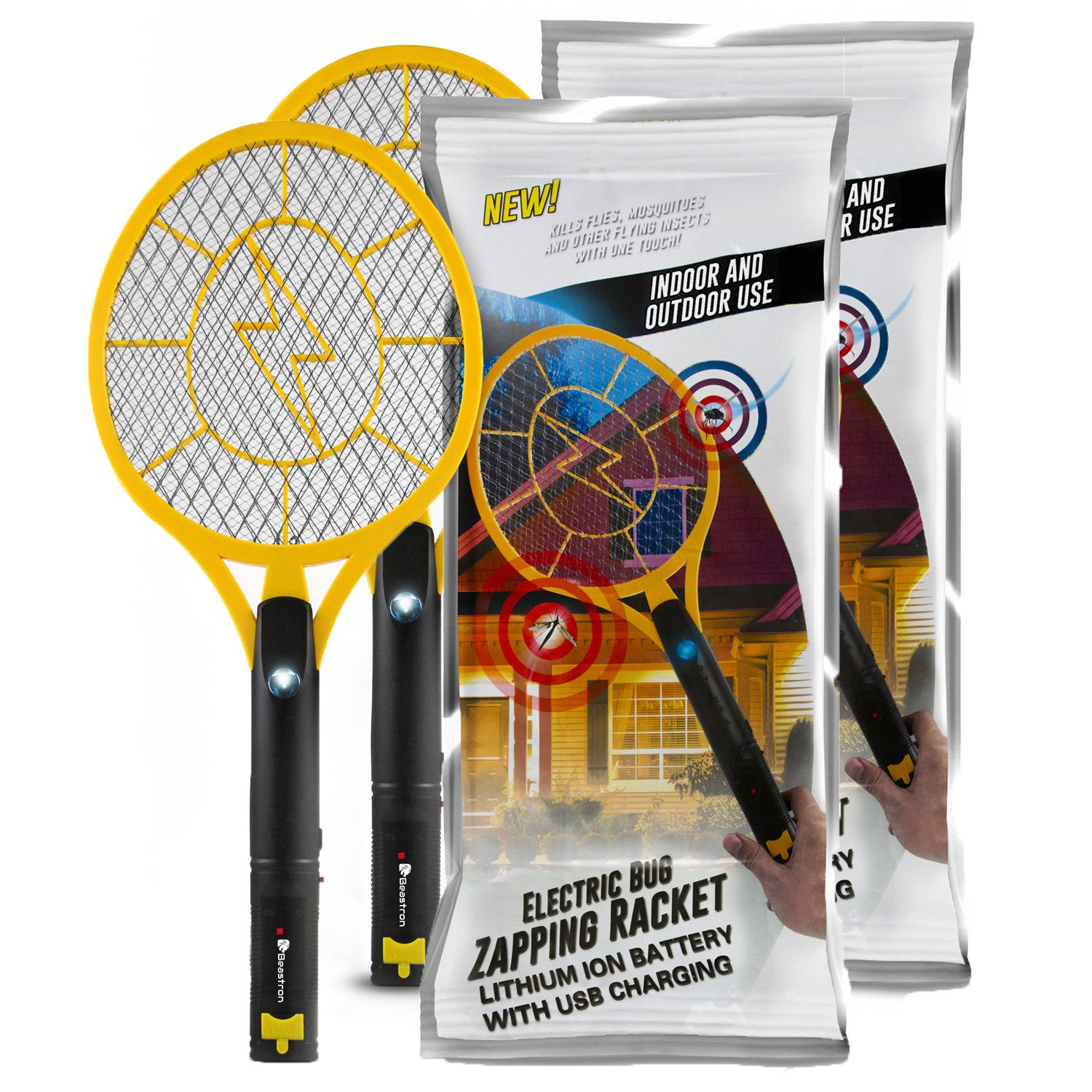 Beastron Bug Zapper Rechargeable Mosquito, Fly Killer and Bug Zapper Racket, 3000 Volt Usb Charging, Super-Bright Led Light to Zap in the Dark Unique 3 Layer Safety Mesh that's Safe to Touch-2 Pack by Beastron