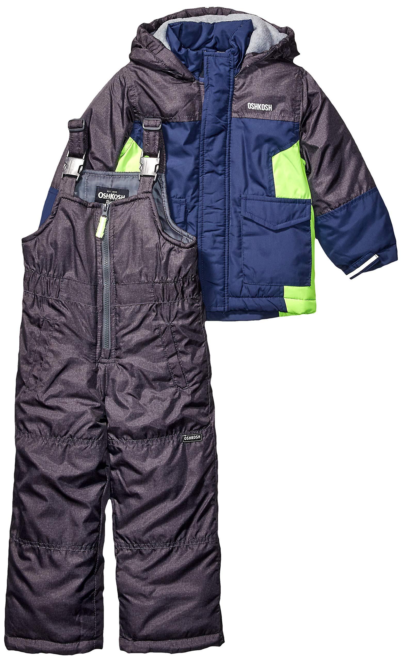 OshKosh B'Gosh Boys' Little Ski Jacket and Snowbib Snowsuit Set, Navy Fall, 5/6 by OshKosh B'Gosh