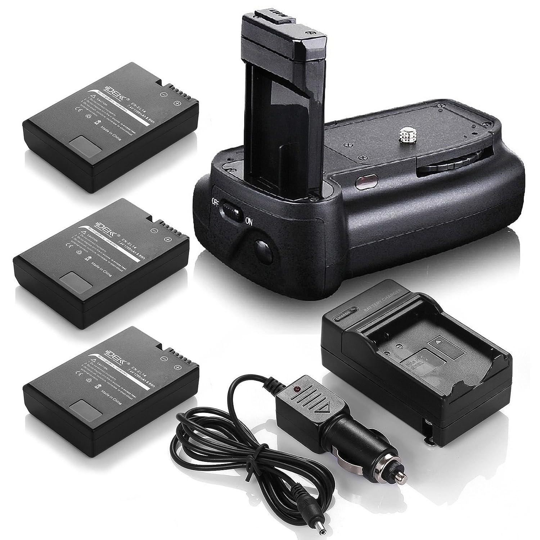 DSバッテリーグリップ+ ( 3パック) en-el14電池+充電器for Nikon d3200 d3300 d5200   B06XVKZ1K1