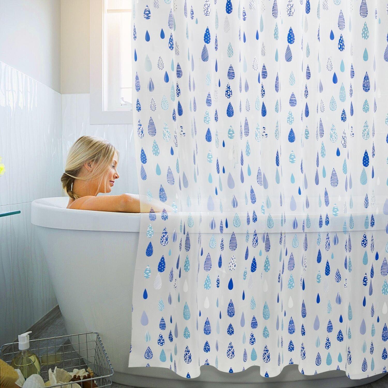 Kilokelvin Shower Curtain Semi Transparent Mould Proof Resistant Curtains EVA Anti Bacterial Waterproof Lining For Bathroom With 12 Metal Hooks