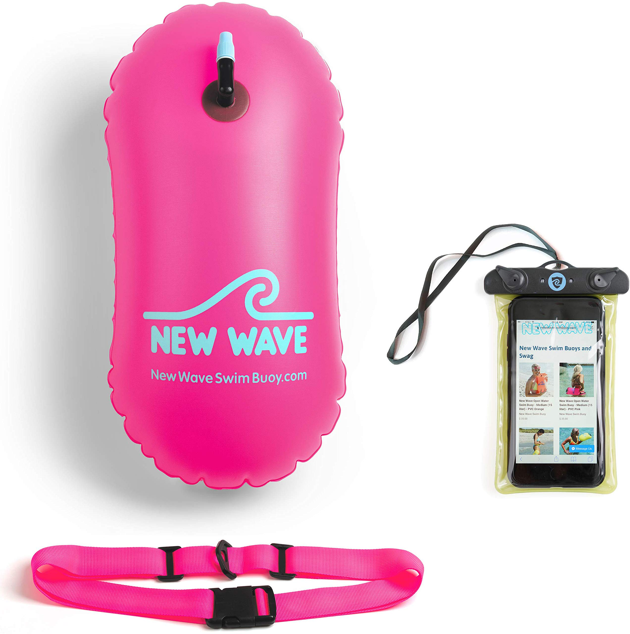 New Wave Swim Bubble for Open Water Swimmers and Triathletes - No Dry-Bag - Waterproof Phone Case & Swim Bubble Bundle (Pink)