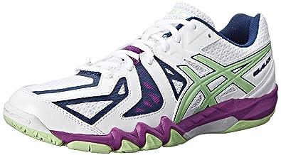 ASICS Women's Gel Blade 5 Indoor Court Shoe, White/Pistachio/Grape, 5