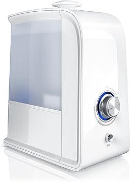 Arendo - Humidificador led de 3,5 litros con ionización, filtro de ...